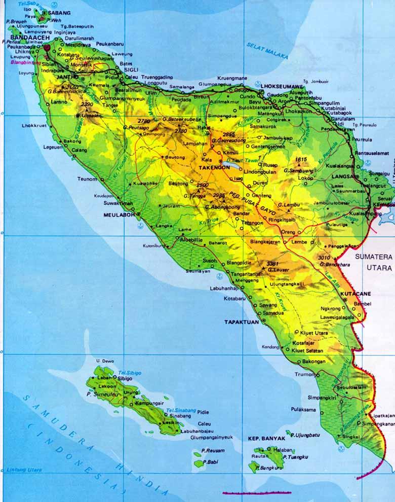 Baitul Mal Sosialisasi Penyelamatan Tanah Wakaf di Aceh  - peta aceh - Baitul Mal Sosialisasi Penyelamatan Tanah Wakaf di Aceh