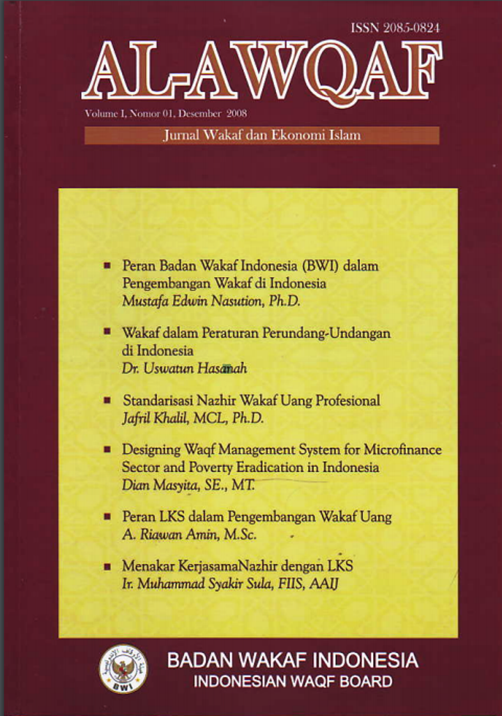 01 - Jurnal Al-Awqaf Volume 01 No. 01 Desember 2008  - 01 Jurnal Al Awqaf Volume 01 No - Indeks Jurnal Al-Awqaf