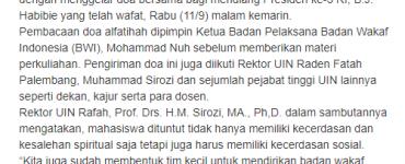 "- screenshot berita - UIN Rafah Gelar Kuliah Tamu ""Wakaf Goes To Campus"" Palembang"