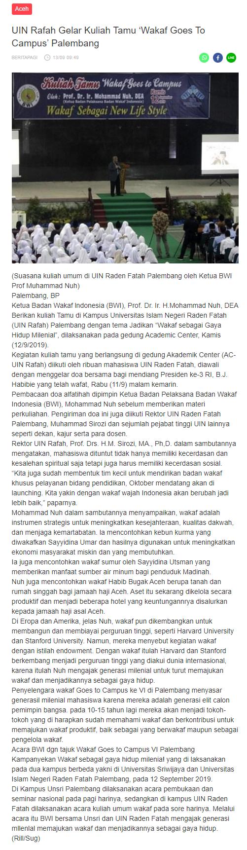 "UIN Rafah Gelar Kuliah Tamu ""Wakaf Goes To Campus"" Palembang  - screenshot berita - UIN Rafah Gelar Kuliah Tamu ""Wakaf Goes To Campus"" Palembang"