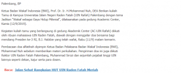 "- screenshot beritapagi - UIN Rafah Gelar Kuliah Tamu ""Wakaf Goes To Campus"" Palembang"