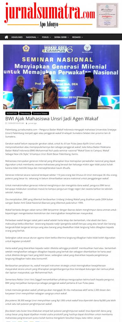 - screenshot jurnalsumatra - BWI Ajak Mahasiswa Unsri Jadi Agen Wakaf