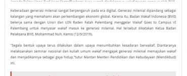 - screenshot koransn - Wakaf Sasar Generasi Milenial