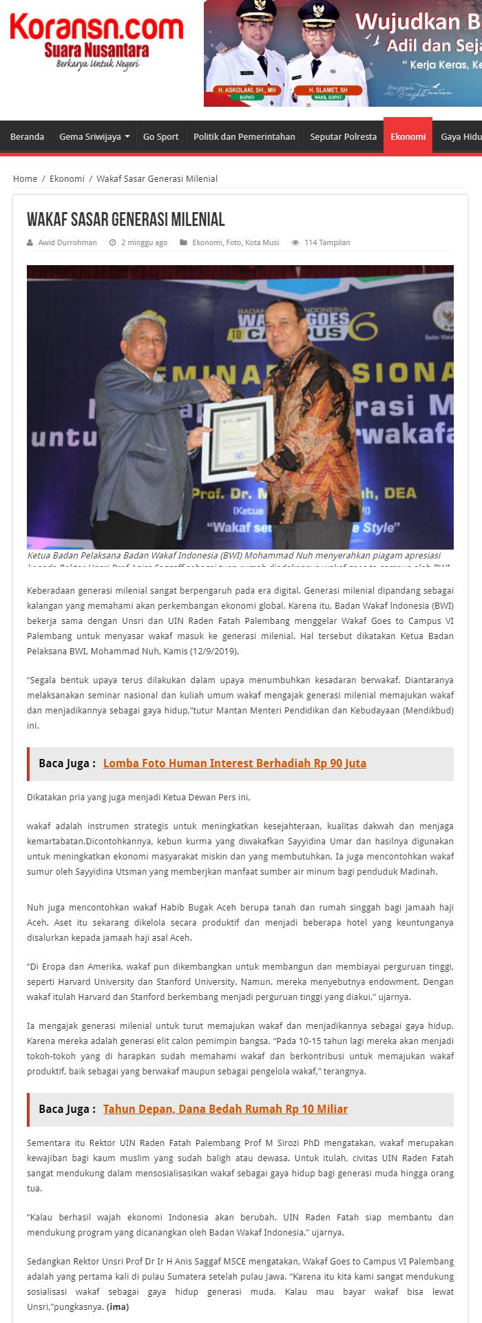 Wakaf Sasar Generasi Milenial  - screenshot koransn - Wakaf Sasar Generasi Milenial