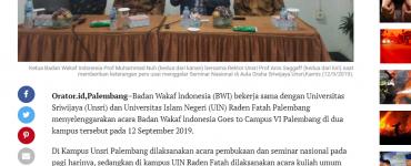 - screenshot orator - Muhammad Nuh Kampanyekan Wakaf ke Kampus Kampus
