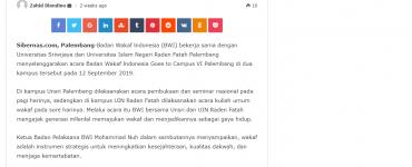 - screenshot sibernas - Muhammad Nuh Kampanyekan Wakaf Millenial Palembang