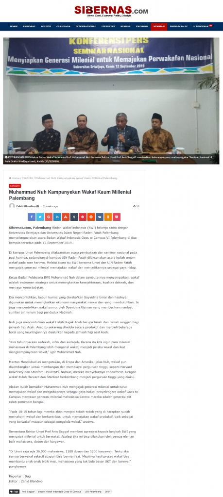WGTC 6 Palembang  - screenshot sibernas - Muhammad Nuh Kampanyekan Wakaf Millenial Palembang