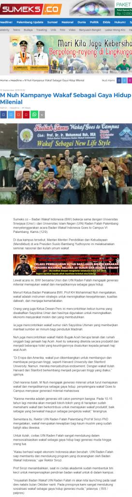- screenshot sumeks - M Nuh Kampanye Wakaf Sebagai Gaya Hidup Milenial