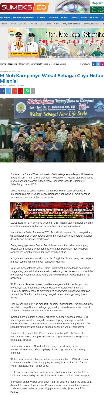 M Nuh Kampanye Wakaf Sebagai Gaya Hidup Milenial  - screenshot sumeks - M Nuh Kampanye Wakaf Sebagai Gaya Hidup Milenial