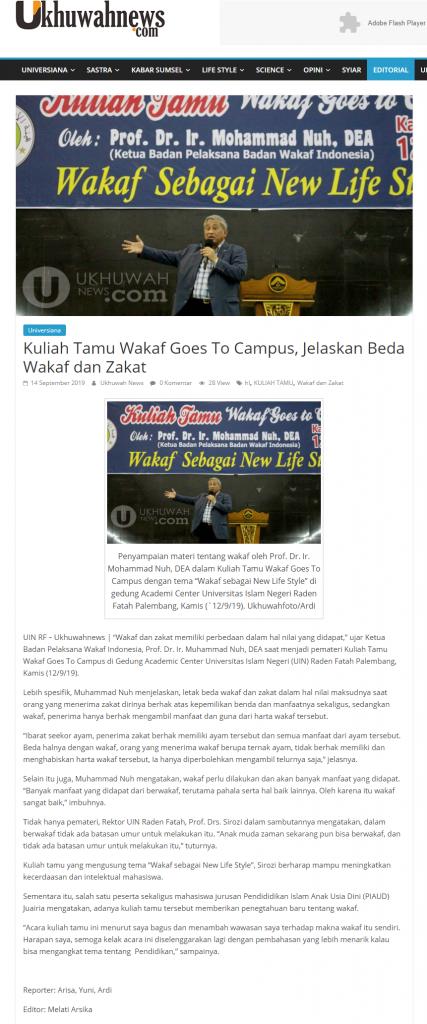 - screenshot ukhuwahnews - Kuliah Tamu Wakaf Goes To Campus, Jelaskan Beda Wakaf dan Zakat