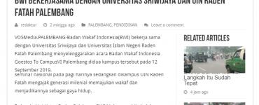 BWI Bekerjasama Dengan Universitas Sriwijaya dan UIN Raden Fatah Palembang  - screenshot vosmedia - BWI Bekerjasama Dengan Universitas Sriwijaya dan UIN Raden Fatah Palembang