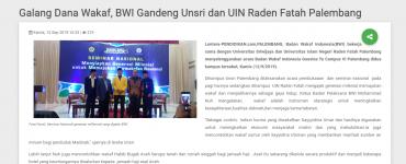 Galang Dana Wakaf, BWI Gandeng Unsri dan UIN Raden Fatah Palembang  - screenshot www - Galang Dana Wakaf, BWI Gandeng Unsri dan UIN Raden Fatah Palembang