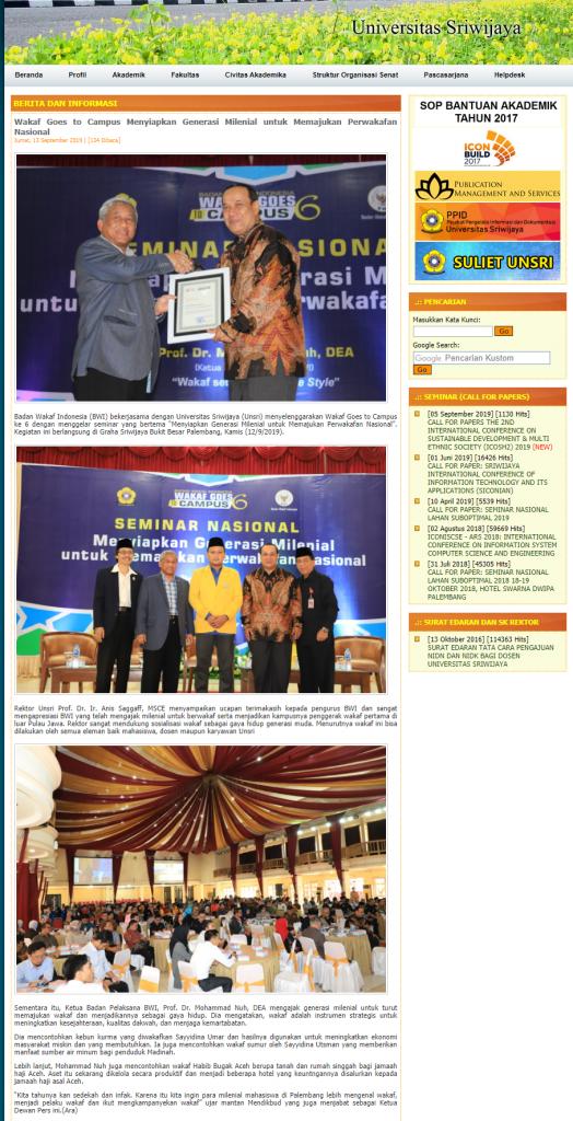 - screenshot www - Wakaf Goes To Campus Menyiapkan Generasi Milenial Untuk Memajukan Perwakafan Nasional