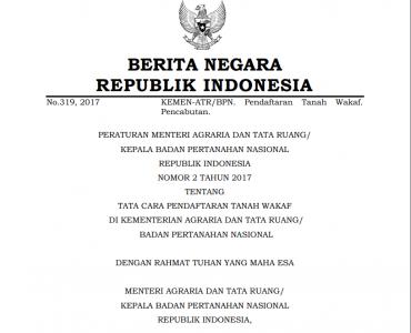 Peraturan Menteri Agraria Nomor 2 Tahun 2017 Tentang Tata Cara Pendaftaran Tanah Wakaf  - Peraturan Menteri ATR BPN Nomor 2 Tahun 2017 Tentang Tata Cara Pendaftaran Tanah Wakaf 370x300 - Peraturan Menteri Agraria Nomor 2 Tahun 2017 Tentang Tata Cara Pendaftaran Tanah Wakaf