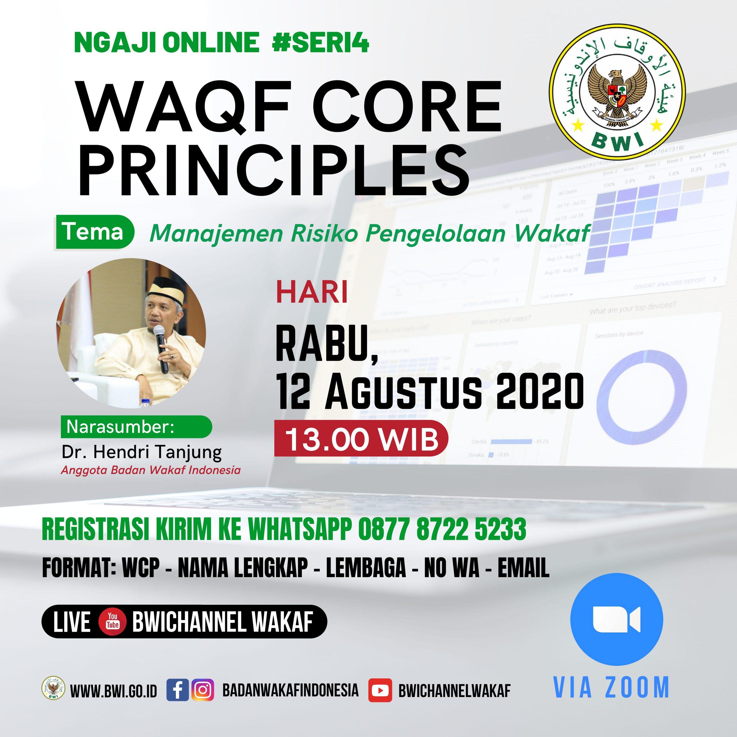 Event- Waqf Core Prinsiple: Manajemen Risiko Pengelolaan Wakaf  - 20200811 Ngaji Online WCP 1 scaled - Event- Waqf Core Prinsiple: Manajemen Risiko Pengelolaan Wakaf