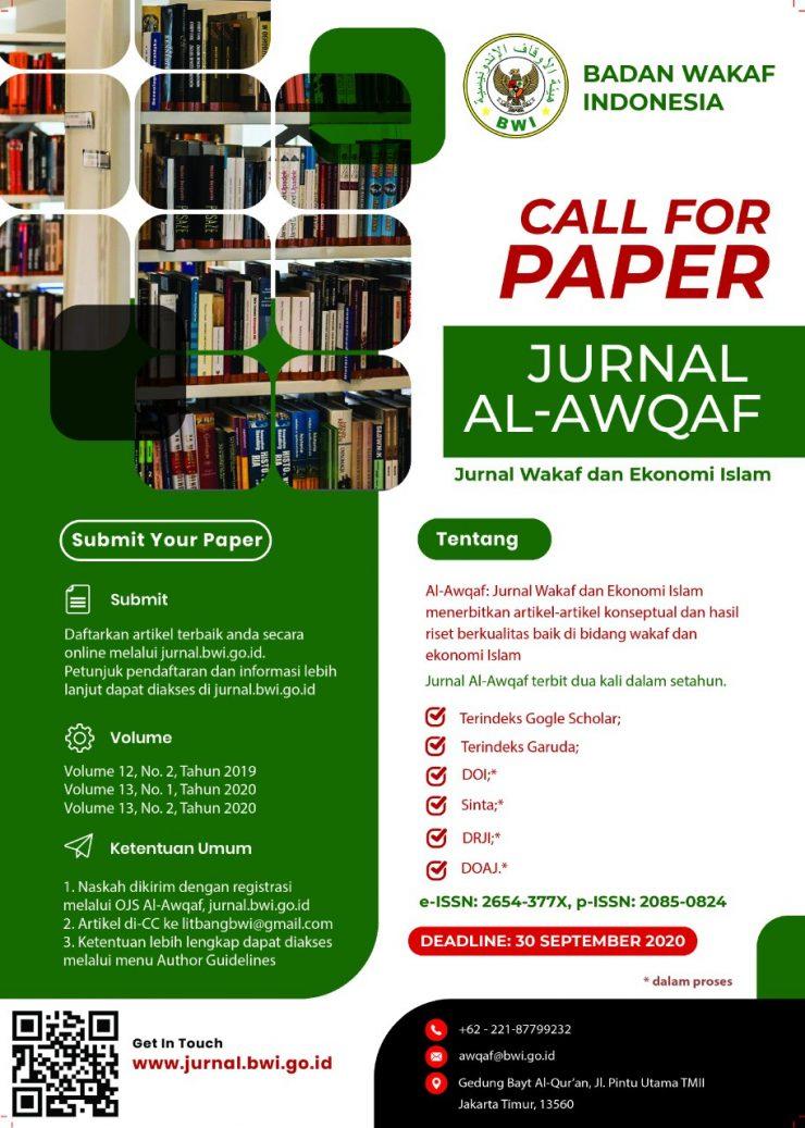 Call For Paper Jurnal Al Awqaf Badan Wakaf Indonesia