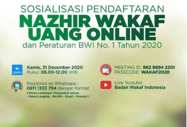 Materi Sosialisasi Pendaftaran Nazhir Wakaf Uang Online dan Peraturan BWI No.1 Tahun 2020  - Materi Sosialisasi Pendaftaran Nazhir Wakaf Uang Online - Materi Sosialisasi Pendaftaran Nazhir Wakaf Uang Online dan Peraturan BWI No.1 Tahun 2020